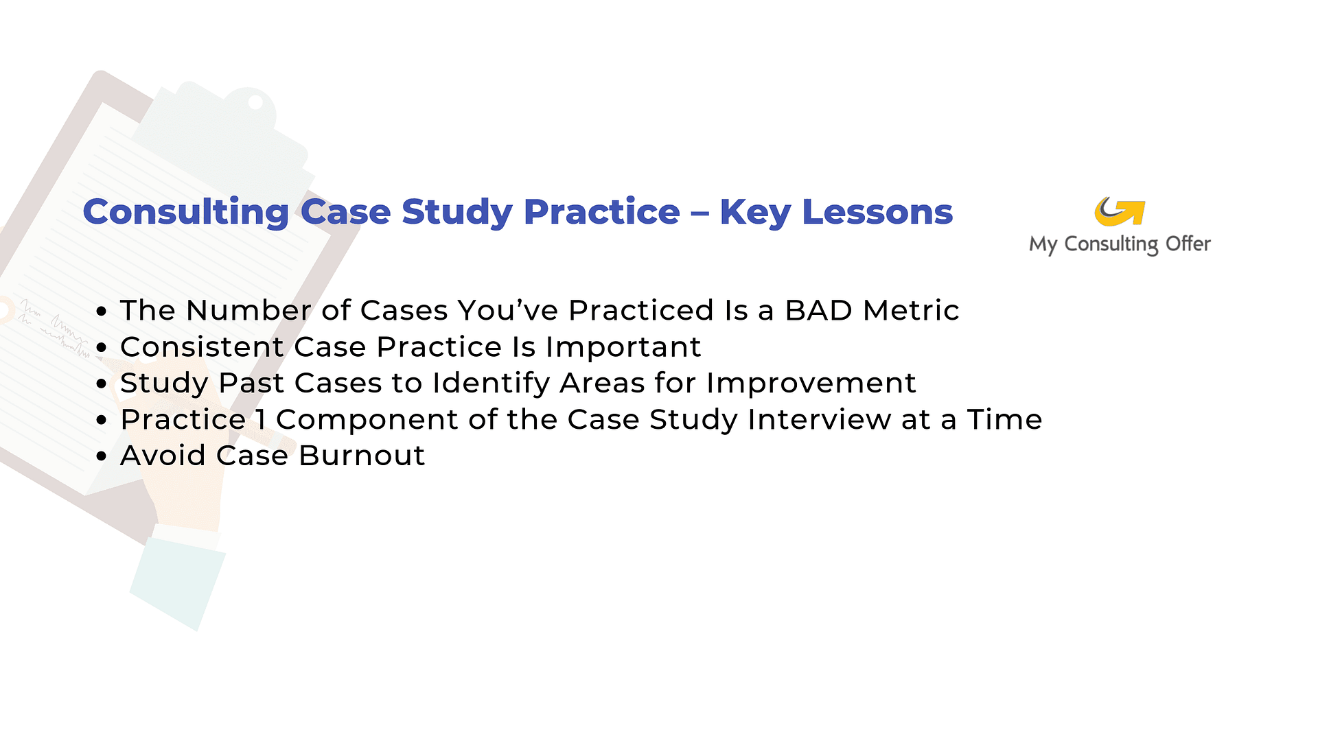Consulting case practice - key lessons
