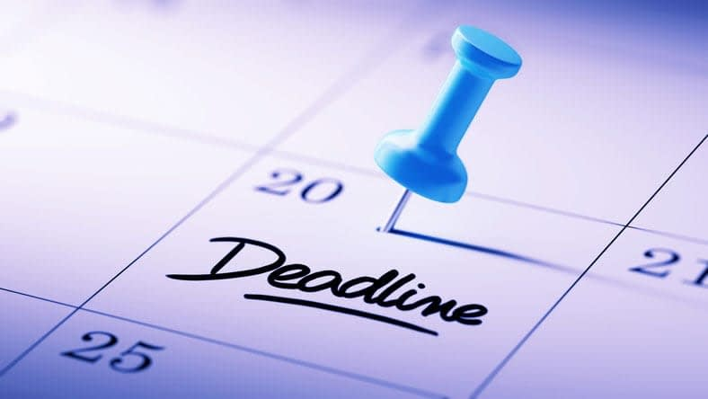 """case interview workshop. Image shows a calendar with """"deadline"""" written in bold letters."""