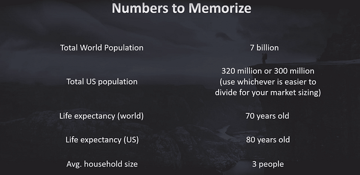 Case interview math - critical numbers. World population = 7 billion, US population = 320 million or 300 million (use whichever is easier to divide for your market sizing), life expectancy (world) = 70 years, Life expectancey (US) = 80 years, Avg. household size = 3